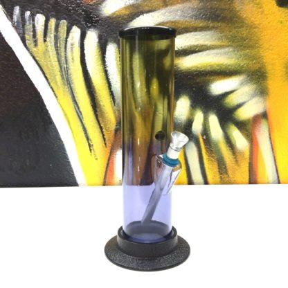 Bang acrylique droit mauve jaune